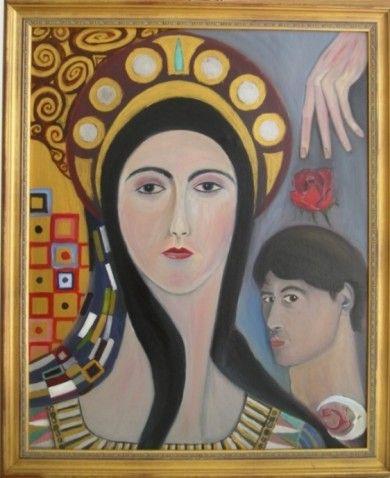 Virgen y autorretrato con rosa y mano, 1995 - Óleo sobre lienzo. Virgin and self-portraitwith rose and hand, 1995 - Oil on canvas. Vierge et autoportrait avec rose et main, 1995- Huile sur toile #gestodedios #arte #pintura