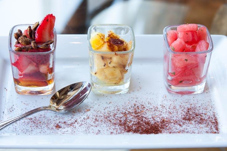 Fruit Flight. Creation of Chef de Cuisine Owen Williams. Served at Salud Lobby Lounge at JW Marriott Starr Pass Resort & Spa.