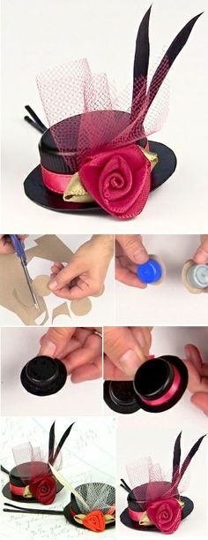 Have you ever thought about making cute bobby pins hats by reusing bottle caps? Give a special touch to your elegant look by creating these tiny hair accessorie