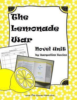 The Lemonade War Novel Unit by Jacqueline Davies, great back to school novel study. Includes many graphic organizers and reading comprehension activities plus enrichment activities like the design a book jacket cover writing activity and suggestions for a class business.