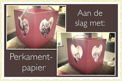Foto afdrukken op perkamentpapier van action (evt eerst lamineren) en op windlicht plakken. (crea-paloppo)