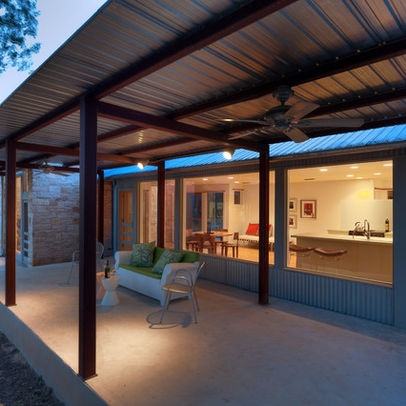 Patio Cover Metal Supports Corrugated Roof Beach Home