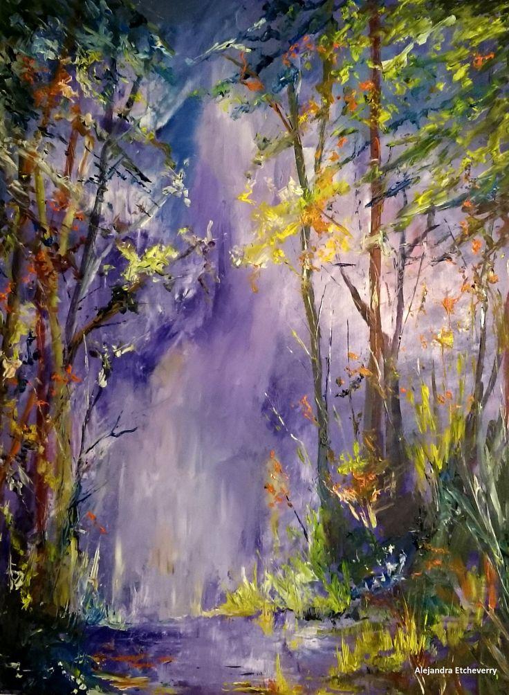 Título: Bosque nocturno - Óleo sobre madera (60x45cm) - San Luis, Argentina - Autora: Alejandra Etcheverry