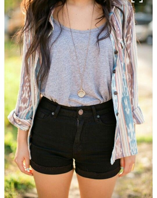 Summer outfit!!! Highwaisted shorts with a tucked-in short and flannel!! I love!   Much love- Michaela Ridner