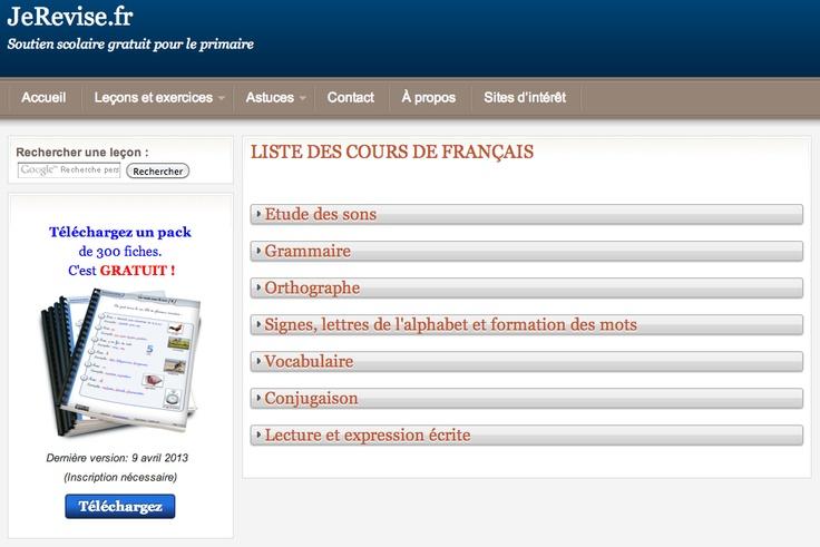 Je révise (liste des cours de français). Soutien scolaire gratuit pour le primaire.