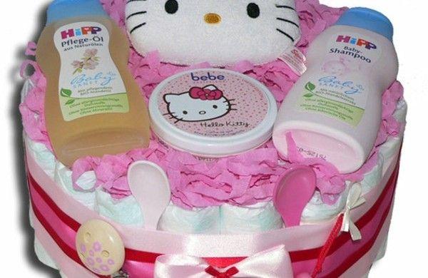 windeltorte anleitung babygeschenke geburt hell kitty