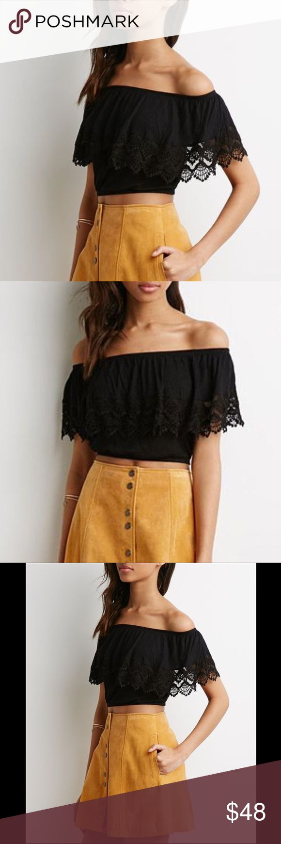 FREE PEOPLE Off Shoulder Flounce Festival Crop Top Free People Black Crochet Lace Pom Pom Off Shoulder Festival Crop Top. Retail price is $78. Size Medium but can also fit a size Large. Mint condition with no flaws. From a clean and smoke free home. No trades please 💕 Free People Tops Crop Tops
