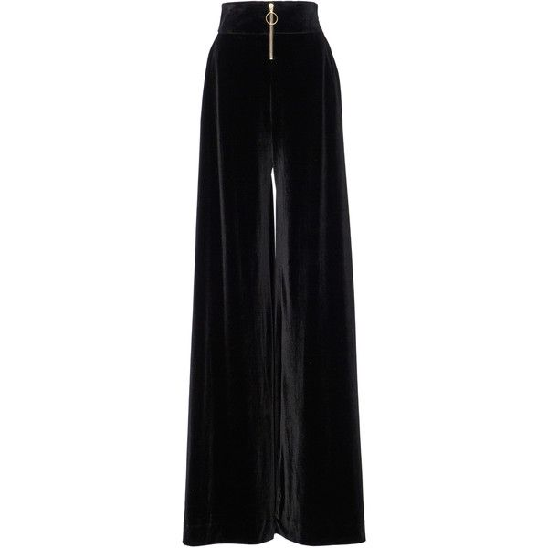Christian Siriano Velvet Wide Leg Trousers ($1,250) ❤ liked on Polyvore featuring pants, jeans/pants, pants and leggings, black, relaxed fit pants, high-waist trousers, andrew gn, high rise trousers and high-waisted pants