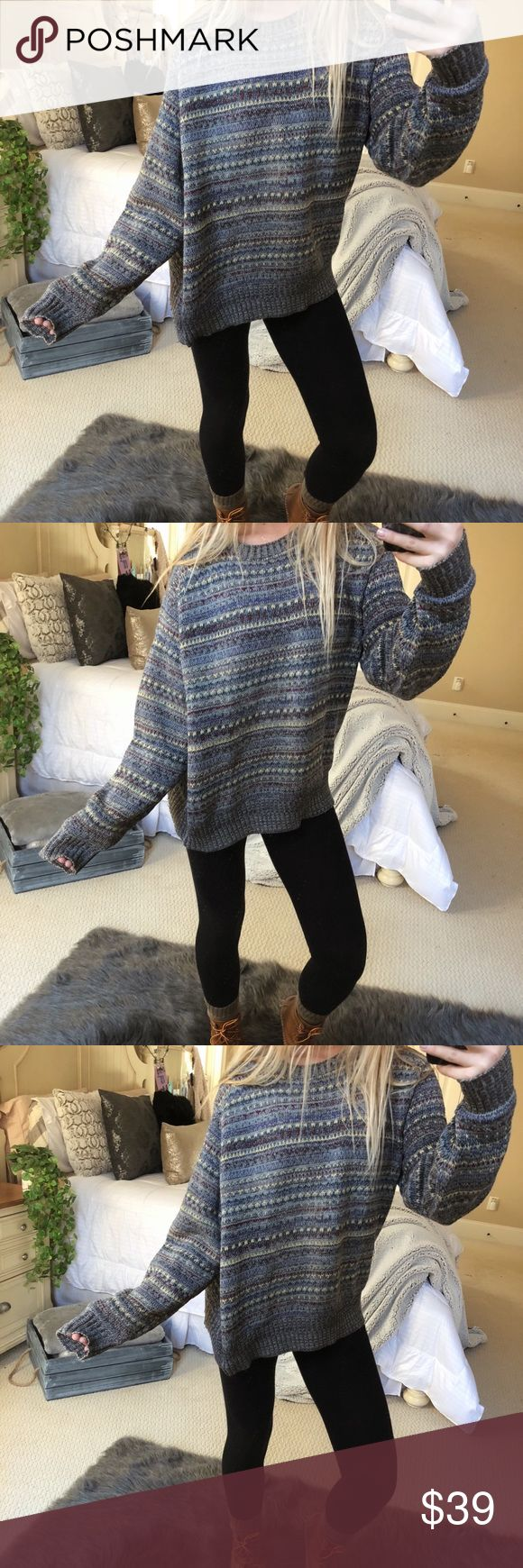 cozy chunky knitted sweater super cute and cozy multicolor chunky knitted sweater. fits a size medium or large 🍃☕️ — * all offers 100% welcomed + encouraged * bundle for a private discount of at least 20% off  * orders guaranteed to ship within 1-2 days unless stated otherwise * ask me any questions if you ever have any! xo Sweaters