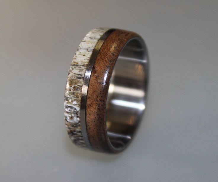 Titanium Ring Deer Antler Ring Antler Ring Mens Titanium Wedding Band Oak Wood And Antler Inlays Wood Ring
