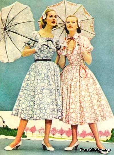 платья 50-х годов прошлого века. Пристальное внимание к аксессуарам