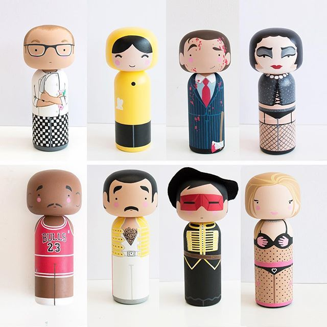 A few recent custom Kokeshis. Including Chef Heston Blumenthal and Yoko from @racheljpowell ... Can you name the rest ?