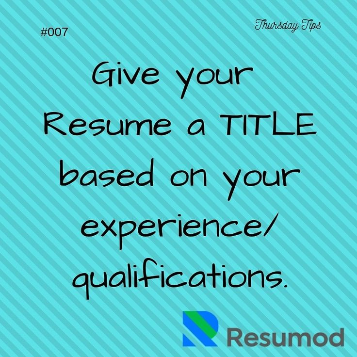 A resume title is written on the top of resume under the