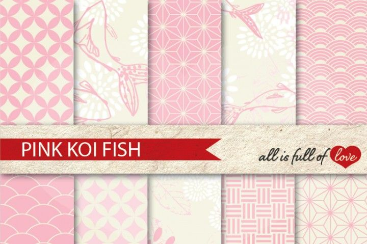 JapaneseDigital Background Patterns in Pale Pink…