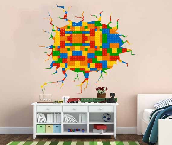 Full Color Wall Decal Vinyl Mural Kids Lego Crack In The Wall Lego Pattern  Removable Part 28