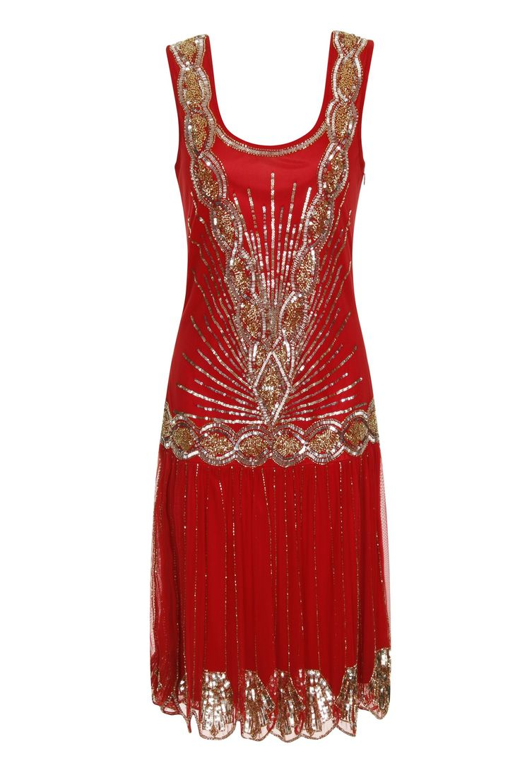 Frock and Frill Zelda Flapper Dress Pompell Red                                                                                                                                                                                 Más