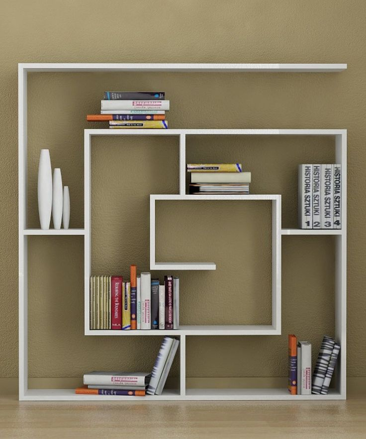 Simply Cool Bookshelf Unit Design Idea with Unique Shape Inspired from  Labyrinth Shape also Slim Design in White Finish Idea | DIY Home Decor |  Pinterest ...