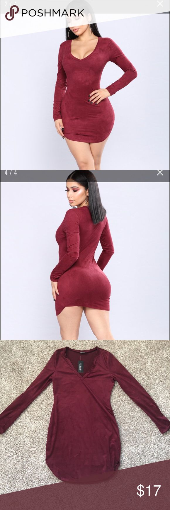 Suede wine colored Dress Sad I didn't fill this dress out enough. This would look awesome on someone with a full butt! It looks super cute with thigh high boots. And it's so soft I could touch it all day long. For size comparison I'm 5'3 and 135 lbs. Fashion Nova Dresses Long Sleeve