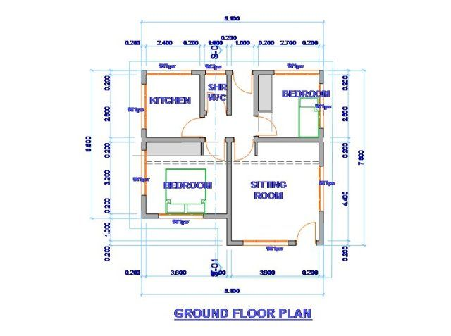 Staff House 2 Bedroom Smart Homeplans Kenya Ground Floor Plan House Plans House