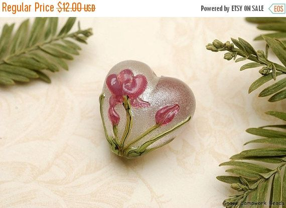 ON SALE 50% OFF Fuchsia Flower Heart Focal Bead  by gracebeads