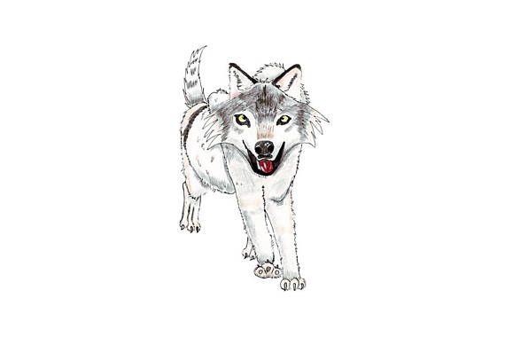 Gray wolf cartoon digital art nursery decor boy room decor