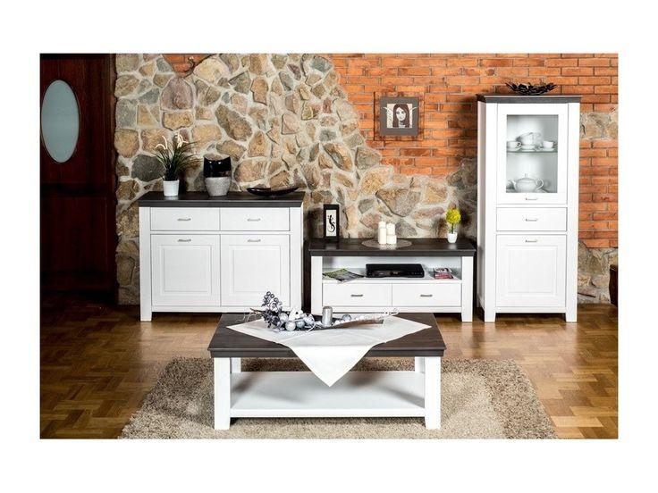 TV stolík Loretto, dekor biela / antracit (Landhaus)