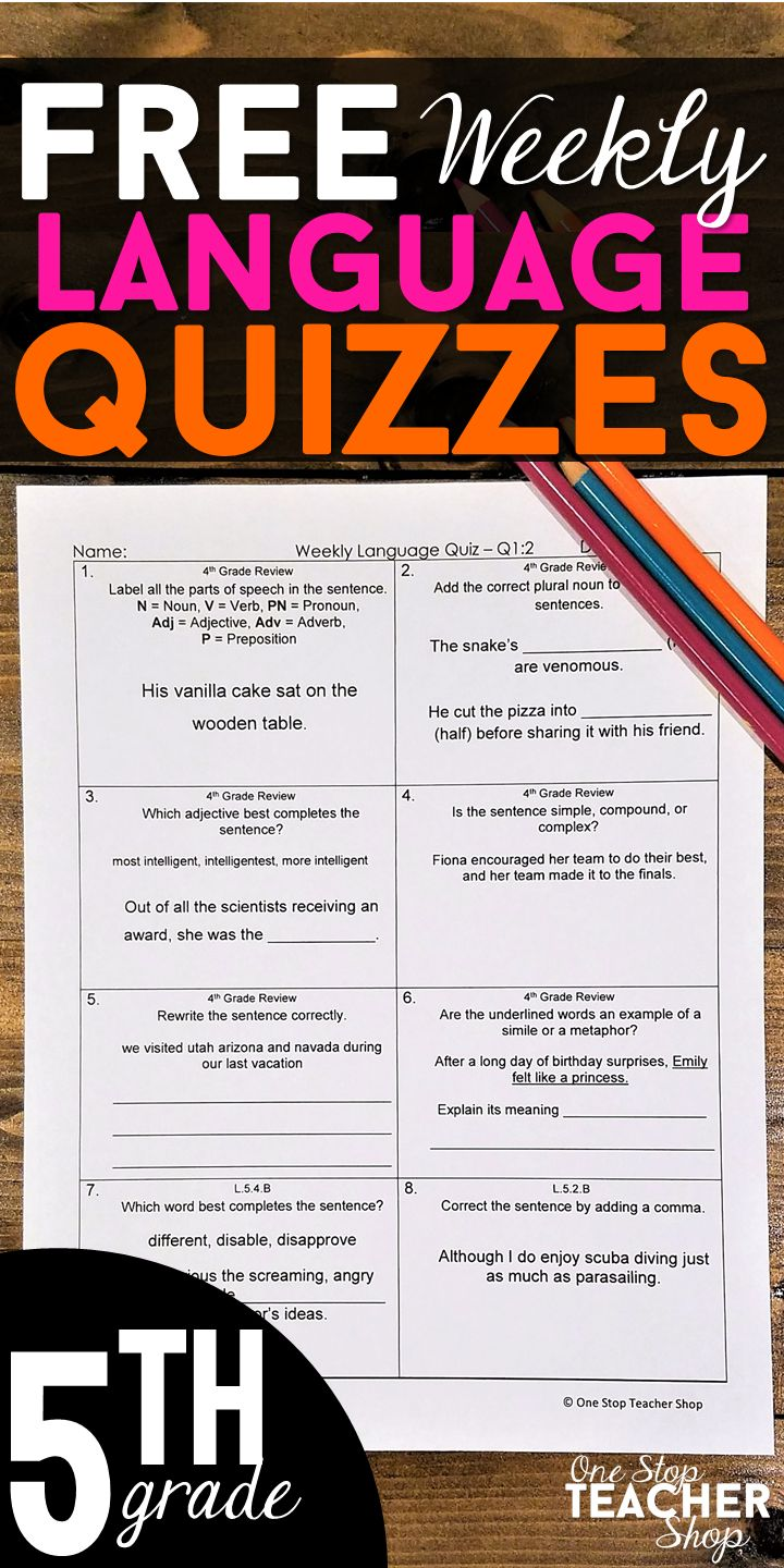 FREE 5th Grade Grammar Assessments or Quizzes. These 5th Grade Language Quizzes are aligned with the common core language standards. These weekly quizzes can also be used as quick checks, spiral review, and progress monitoring. 5th Grade Quizzes | 5th Grade Assessments | Grammar Quizzes | Language Quizzes | Grammar Review