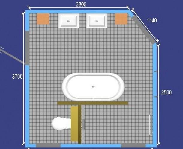 voorbeeld indeling dubbele wastafel, bad tegen een muur. Daarachter douche en toilet.