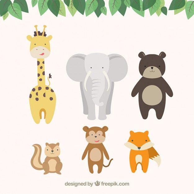 Симпатичные карикатуры животных Бесплатные векторы
