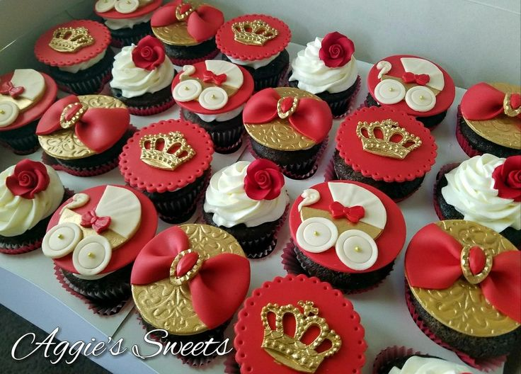 Perfect Red And Gold Royal/Prince Baby Shower Cupcakes