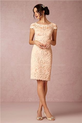 Sheath/Column Jewel Knee-length Lace Mother of the Bride Dress