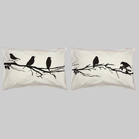Birds on a Branch Pillowcase Set – Black from Pillow Talk - R399 (Save 20%)