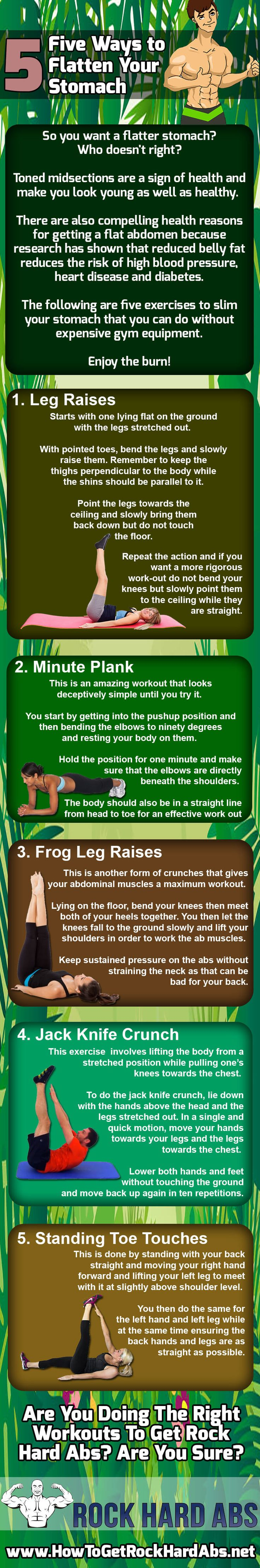 As bad as belly fat is to our self-esteem losing it isn't as hard as many would make you to believe. The key to flattening your abs is simple. Do enough of the right kind of exercises and you will lose belly flat. In this infographic we share 5 exercises that are good ones you need to include in your workout regimen. Make sure to let us know how things work out for you!