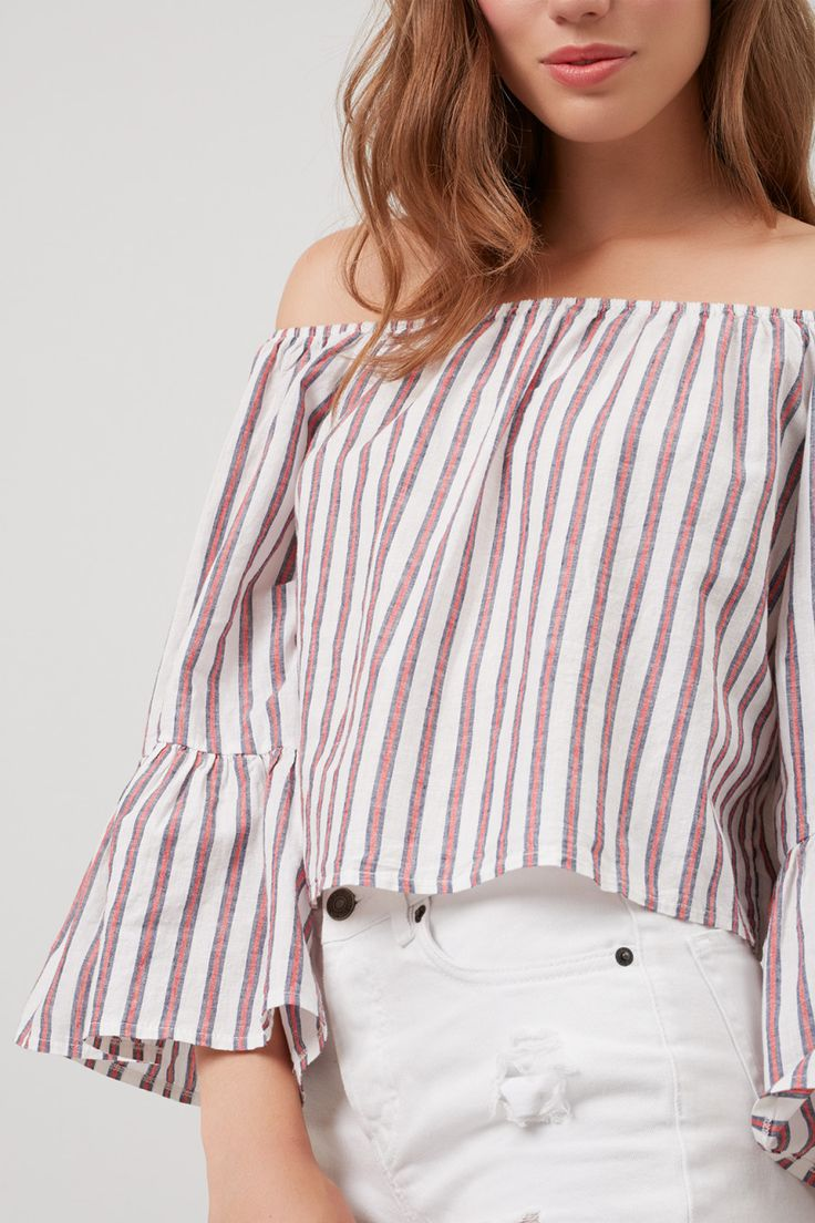 Red Striped Off-the-shoulder Top
