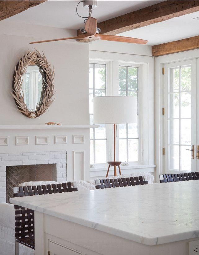 Benjamin Moore Gray Mist. A clean, modern design with strong, organic details. BellaRusticaDesign.com
