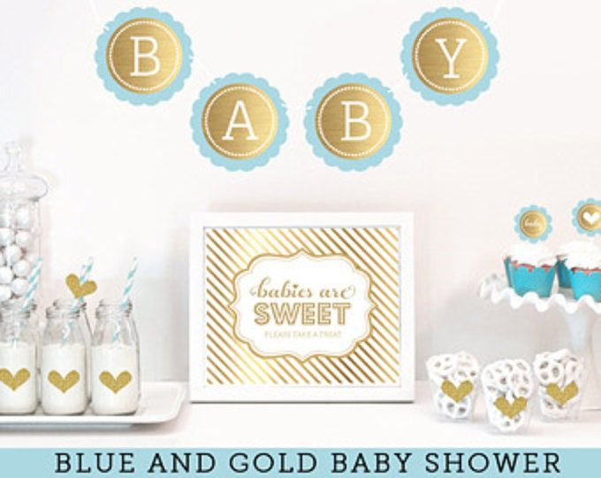 Bebé azul y oro ducha oro brillo decoración - Ideas de ducha de Baby Boy - Baby Shower - muchacho bebé ducha decoración temas (EB4011BS)
