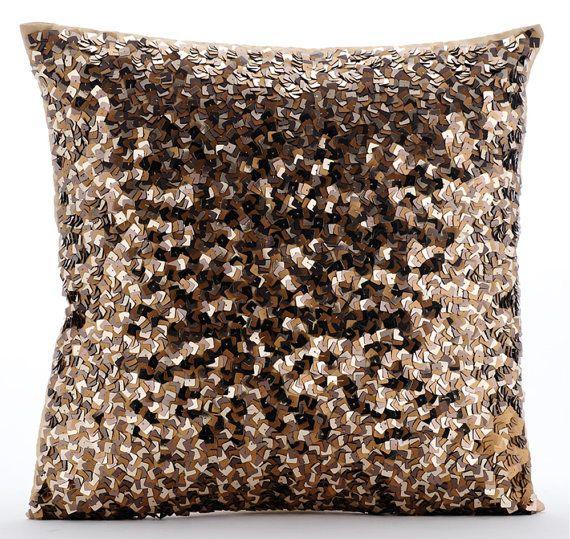 Shocker Gold - gold sequins Embroidered Silk Throw Pillows.