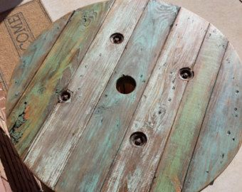 Refurbished cable reel table stained painted repurposed coffee table patio furniture rustic table