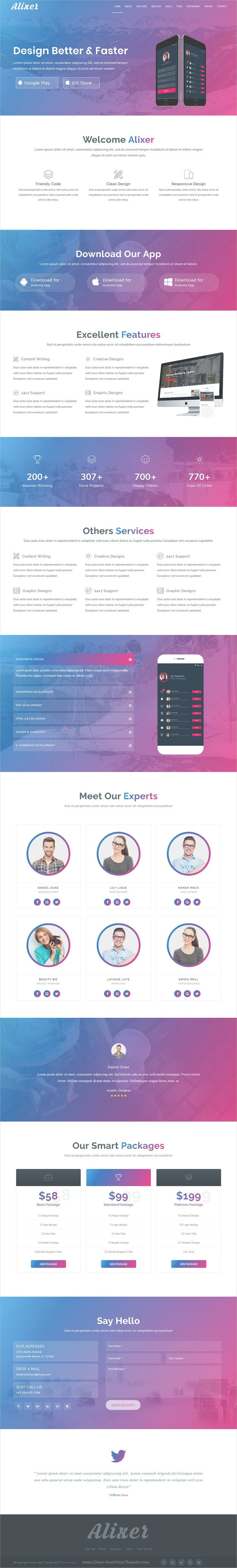 Alixer is clean and modern design responsive #bootstrap template for creative #app landing page website with 14 unique homepage layouts download now..