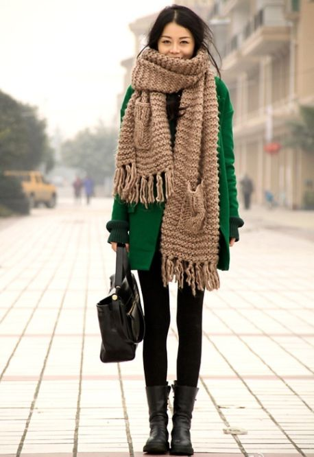 HUGE cozy knit scarves.