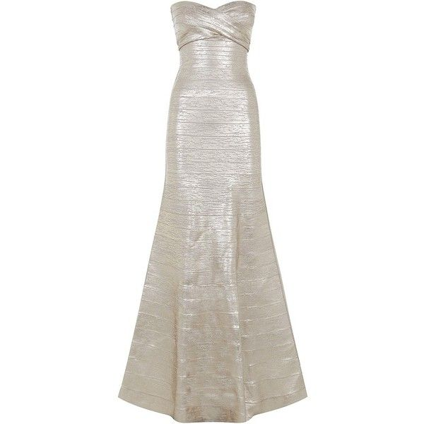 Herve Leger Sara Bandage Gown ($2,270) ❤ liked on Polyvore featuring dresses, gowns, herve leger, iltapuvut, long dresses, rose gold formal dress, formal dresses, bandage dress, formal evening dresses and formal ball gowns