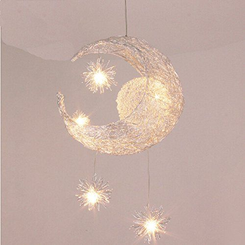 NilightR Creative Moon And Stars Children Bedroom Living Room Ceiling Light Pendant Hanging Lamp Chandelier