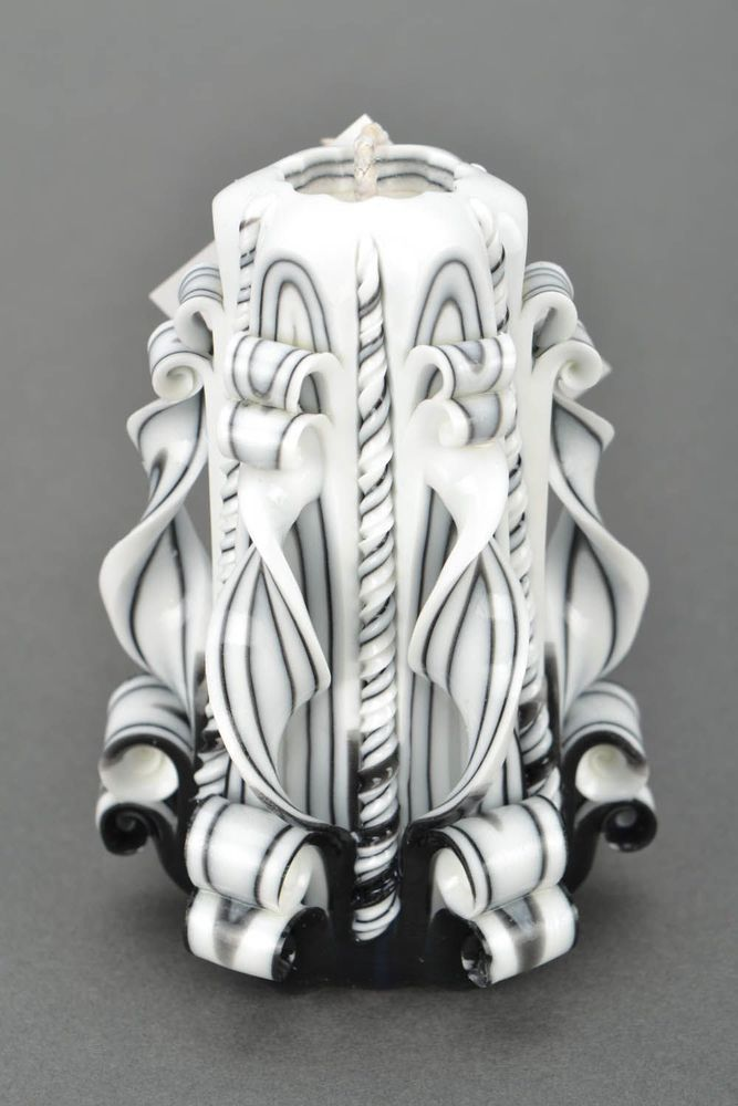 Homemade original wax carved candle Black and White present for housewarming