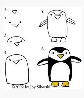 Penguins- a lesson for the little kids..start with the body shape first then add nose and eyes..then draw feet.. then add flipper arms and add body details