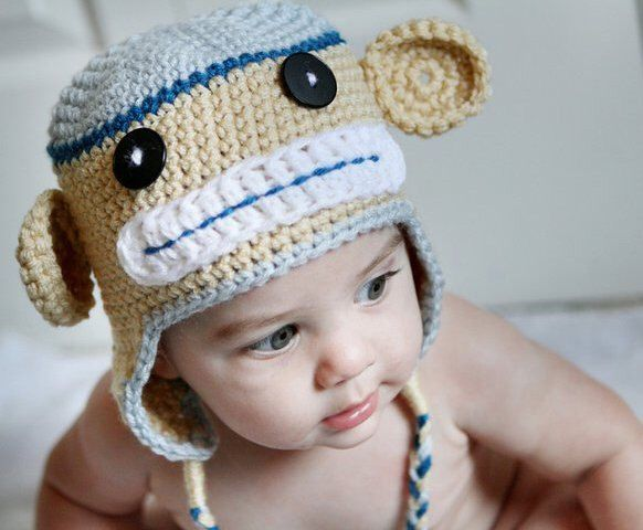 Baby Monkey Hat, Crochet Baby Monkey Hat, Baby Animal Hat by handmadebabylove on Etsy https://www.etsy.com/listing/80111480/baby-monkey-hat-crochet-baby-monkey-hat