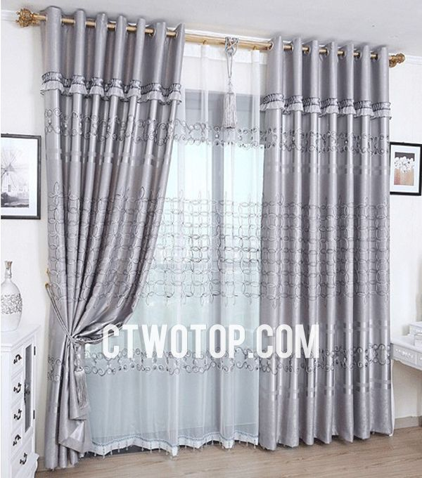 Sound Absorption Curtains of Embroidery Polka Dots | Curtains ...