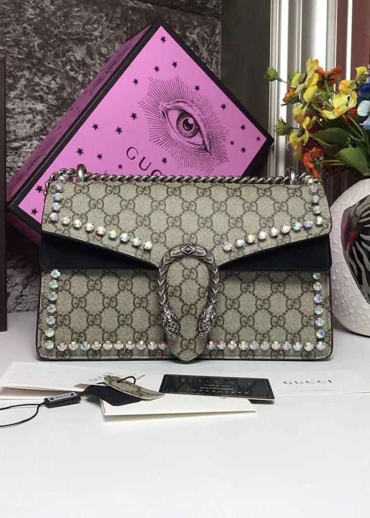 352cdddeaf7 Gucci Dionysus GG Supreme Crystal Medium Shoulder Bag with Black Suede  Detail