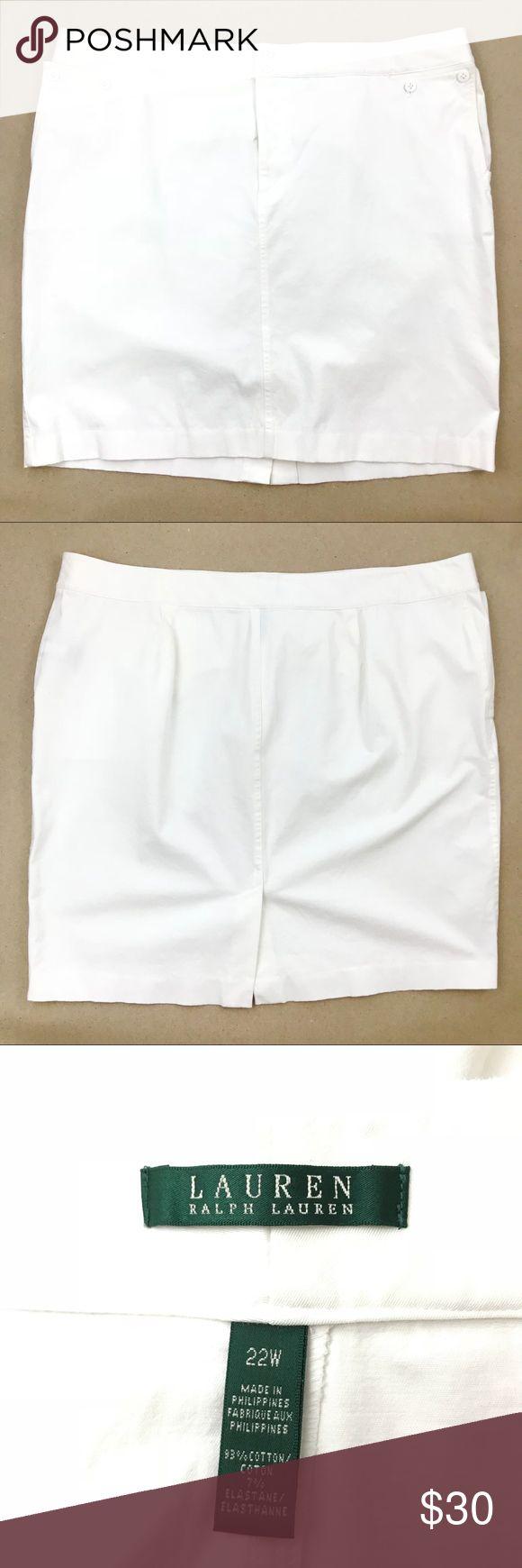 Plus Size Mini Skirt 22W White Lauren Ralph Knee Cotton Straight Cut Pencil Fitted Pockets Zipper Button Solid Color Stretch Stretchy Lauren Ralph Lauren Skirts Mini