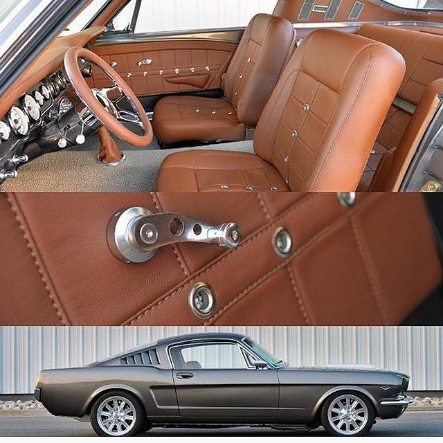 67 mustang fastback gt500 grey with camel interior. custom painted 66 brown grommets