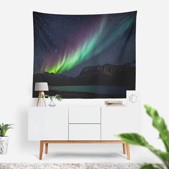 Aurora Borealis Wall Tapestry   Wall Hanging   Stars   Boho Tapestry   Astronomy Wall Tapestry   Extra Large Wall Art   Northern Lights
